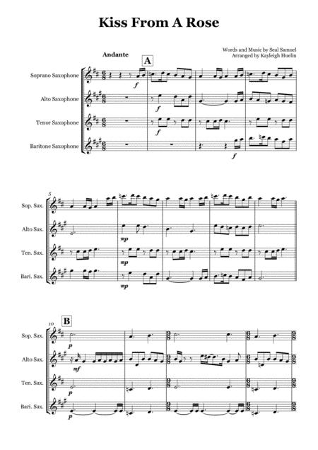 Kiss From A Rose by Seal - Saxophone quartet (SATB)
