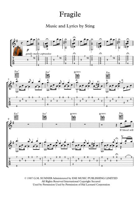 Download Fragile Sheet Music By Sting - Sheet Music Plus