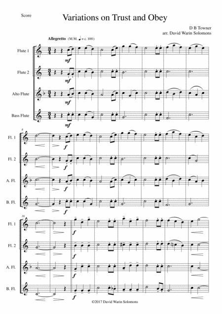 Variations on Trust and Obey for Flute quartet (2 C flutes, alto flute, bass flute)