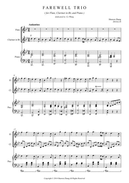 Farewell Trio ( for Flute, Clarinet in B-flat and Piano)