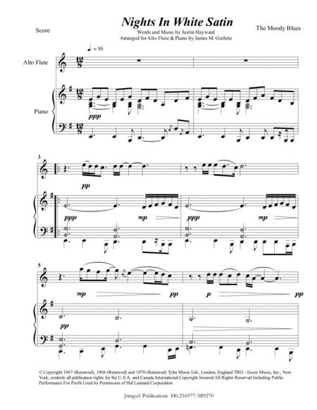 The Moody Blues: Nights In White Satin for Alto Flute & Piano