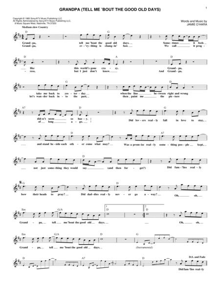 grandpa (tell me 'bout the good old days) by the judds jamie o'hara -  digital sheet music for lead sheet / fake book - download & print hx.375761  | sheet music plus  sheet music plus