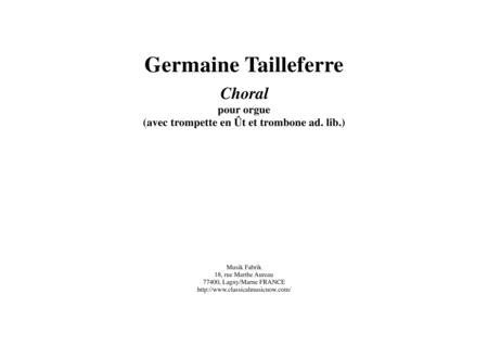 Germaine Tailleferre: Choral for organ and optional brass (C trumpet and trombone)