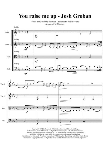Download You Raise Me Up Josh Groban Arranged For String