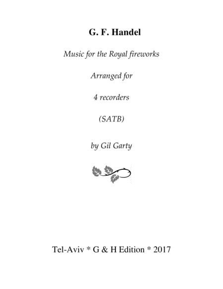 Music for the Royal fireworks (arrangement for 4 recorders)