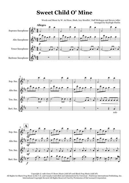 Download Sweet Child O Mine By Guns N Roses Saxophone Quartet