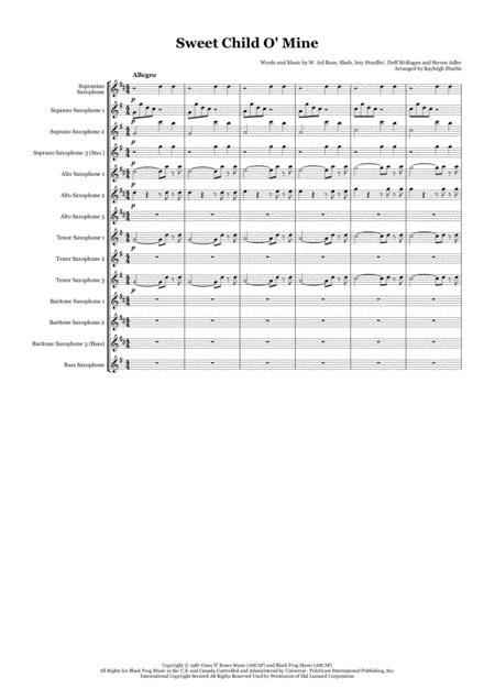 Download Sweet Child O Mine By Guns N Roses Saxophone Choir
