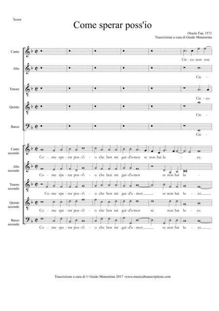Orazio Faà - Come sperar poss'io (1571)