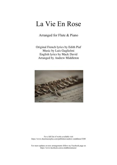 Download La Vie En Rose For Flute And Piano Sheet Music By Edith