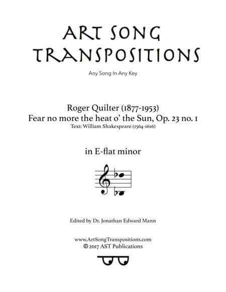 Fear no more the heat o' the Sun, Op. 23 no. 1 (E-flat minor)