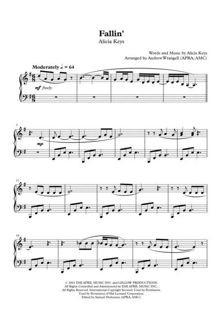 Download Fallin Piano Sheet Music By Alicia Keys Sheet Music Plus