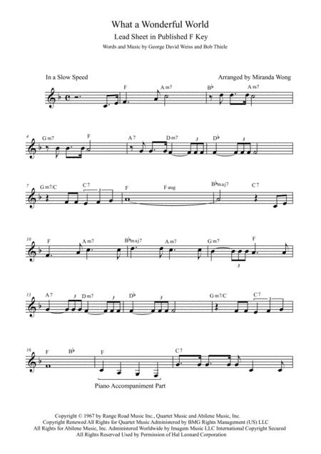 Download What A Wonderful World - Lead Sheet In Published F Key ...