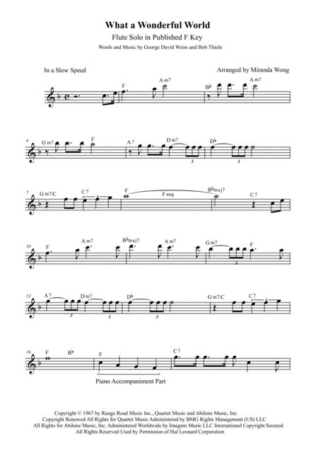 Download What A Wonderful World - Flute Or Oboe Solo In Published F ...