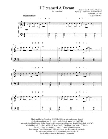 i dreamed a dream piano sheet music
