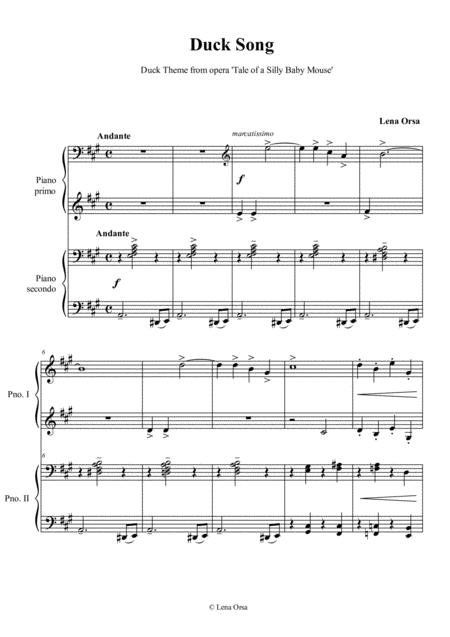Download The Duck Song For Piano 4 Hands Sheet Music By Lena Orsa