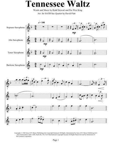 Tennessee Waltz for SATB Sax Quartet