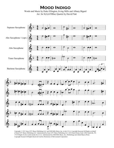 Mood Indigo for S(A)ATB Sax Quartet