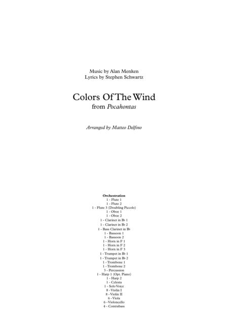 Colors Of The Wind (Solo Voice and Full Orchestra)