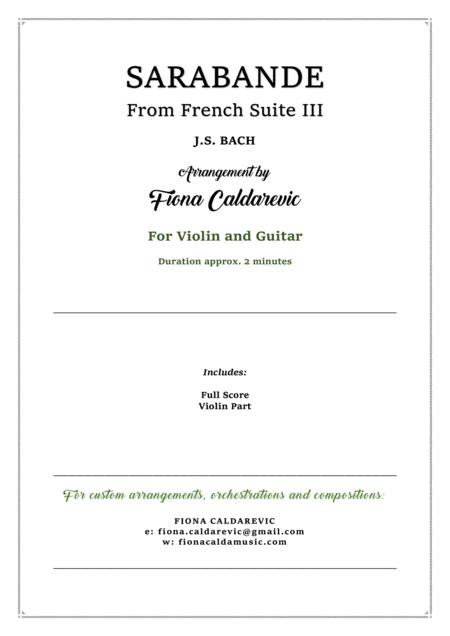 Download Sarabande From Bach's French Suite III - For Violin