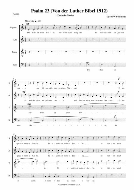 Psalm 23 (The Lord is my shepherd) in Martin Luther's translation (Der Herr ist mein Hirte) for SATB choir in D Dorian