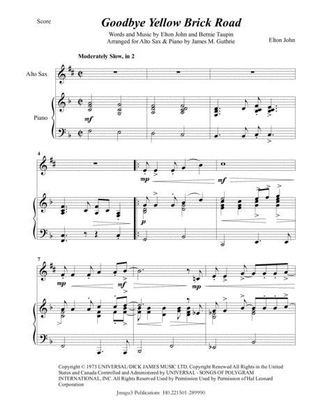 Elton John: Goodbye Yellow Brick Road for Alto Sax & Piano