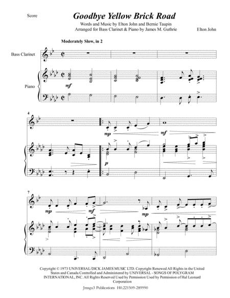 Elton John: Goodbye Yellow Brick Road for Bass Clarinet & Piano
