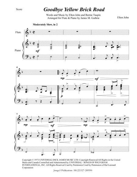 Elton John: Goodbye Yellow Brick Road for Flute & Piano