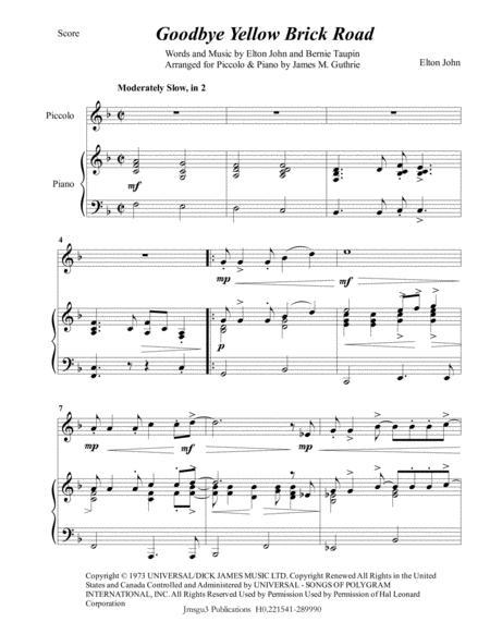 Elton John: Goodbye Yellow Brick Road for Piccolo & Piano