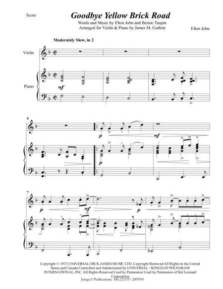 Elton John: Goodbye Yellow Brick Road for Violin & Piano