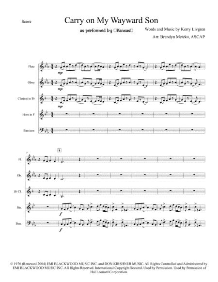 Carry On My Wayward Son (Wind Quintet)