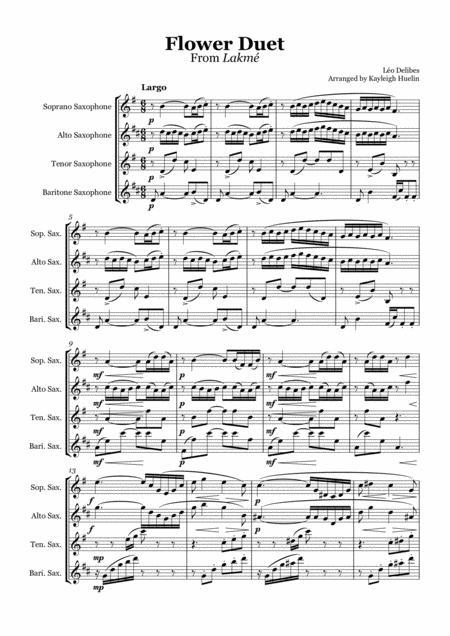 Flower Duet from Lakmé (Delibes) - Saxophone quartet (SATB)