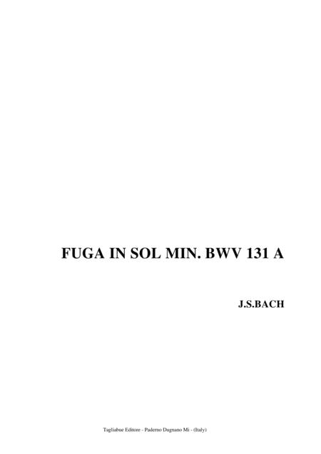 BACH - FUGA IN SOL MIN. BWV 131 A - For organ