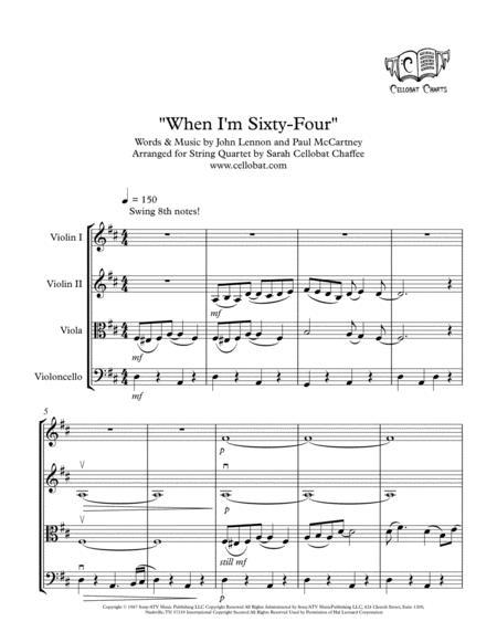 When I'm Sixty-Four - String Quartet - Beatles arr. Cellobat - Recording Available!