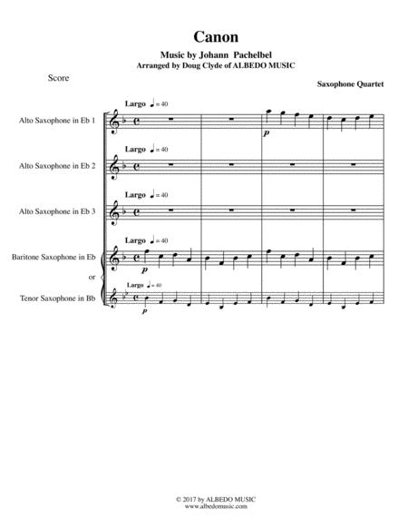 Pachelbel's Canon for Saxophone Quartet
