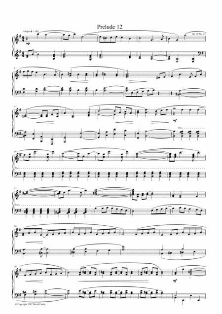 Prelude for solo Piano, Op. 16, No 12