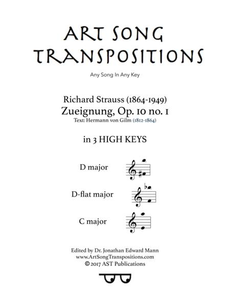 Zueignung, Op. 10 no. 1 (in 3 high keys: D, D-flat, C major)