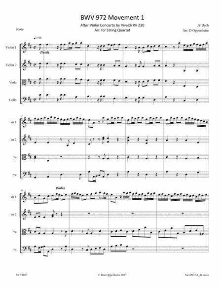 Bach: BWV 972 Mvt 1 after Violin Concerto by Vivaldi RV 230; Arr. for String Quartet