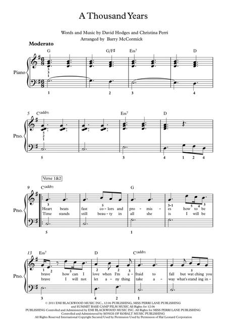 Download A Thousand Years Easy Piano Sheet Music By Christina Perri