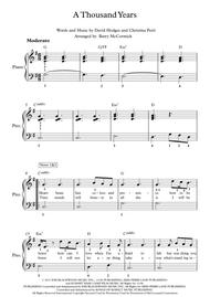 A Thousand Years Easy Piano
