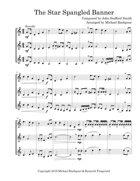 Star Spangled Banner Trumpet Trio By John Stafford Smith Digital Sheet Music For Trumpet Download Print S0 224003 From Michael Raehpour Self Published At Sheet Music Plus
