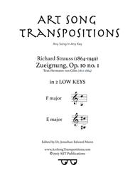 Zueignung, Op. 10 no. 1 (in 2 low keys: F and E major)