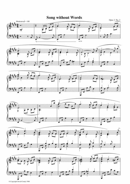Songs without Words for solo Piano, Op. 3, No. 2