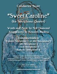 Sweet Caroline (for Saxophone Quartet SATB or AATB)