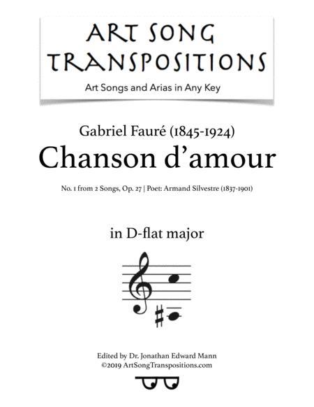 Chanson d'amour, Op. 27 no. 1 (D-flat major)