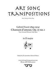 Chanson d'amour, Op. 27 no. 1 (D major)
