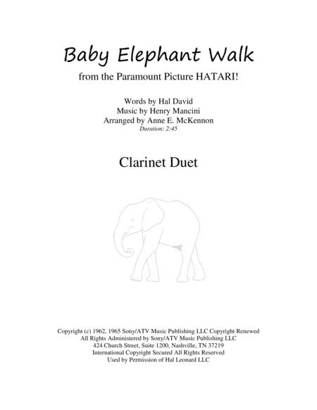 Baby Elephant Walk for Clarinet Duet