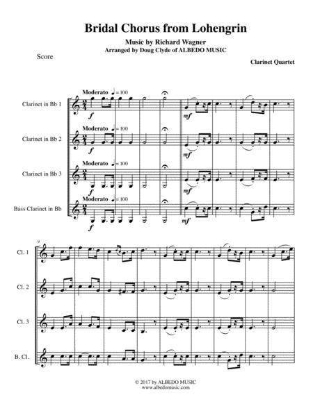 Wagner Bridal Chorus from Lohengrin for Clarinet Quartet