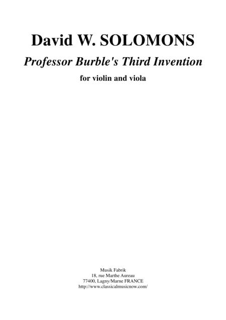 David Warin Solomons: Professor Burble's Third Invention for violin and viola