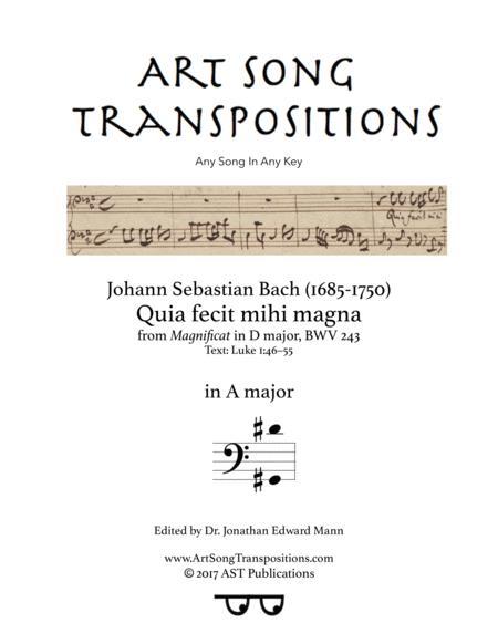 Quia fecit mihi magna, BWV 243 (A major)