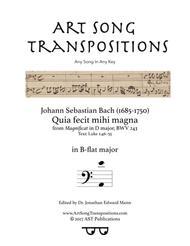 Quia fecit mihi magna, BWV 243 (B-flat major)
